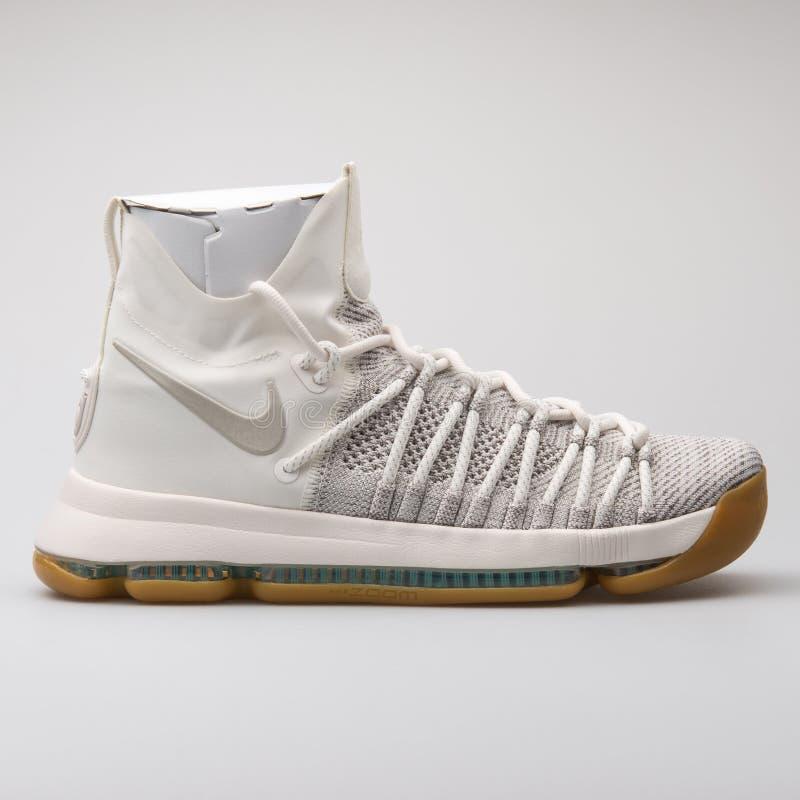 Nike Zbliża KD9 elity popielaty i biały tenisówka zdjęcia stock