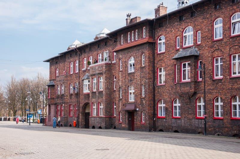 Nikiszowiec, historische Kohlenbergmannregelung in Katowice, Polen stockbilder