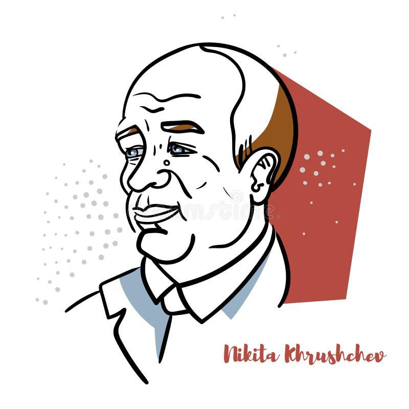 Nikita Khrushchev Portrait royalty-vrije illustratie