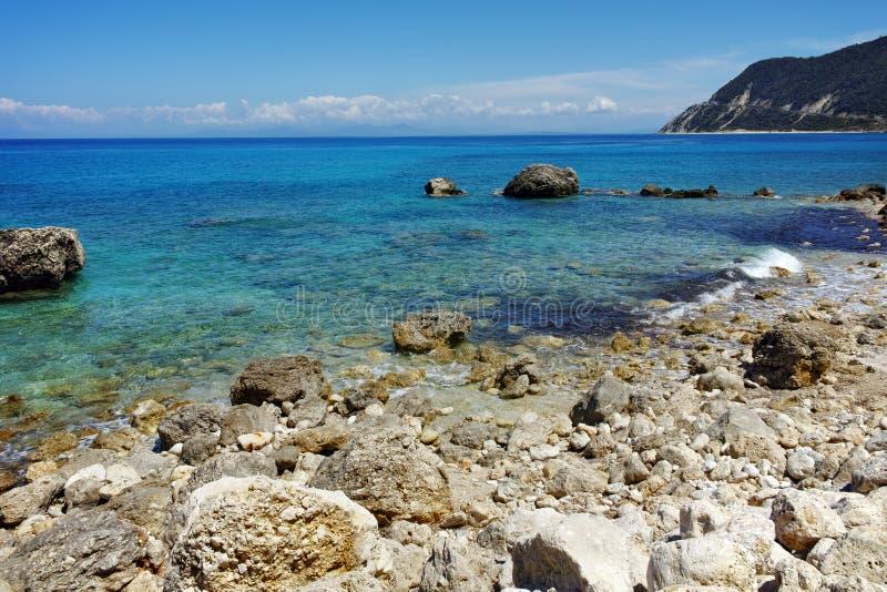 贴水Nikitas,莱夫卡斯州,希腊有卵石花纹的海滩  库存照片