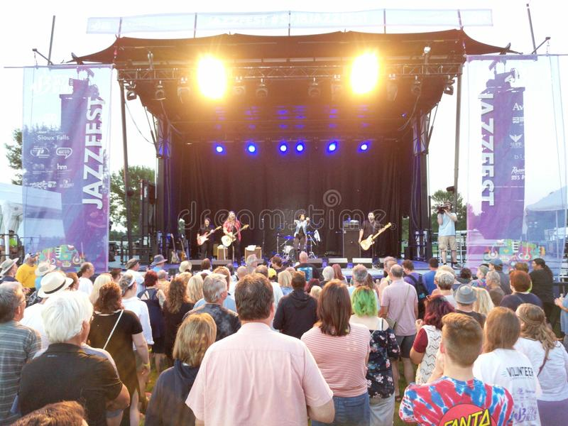 Nikki Hill Rocks JazzFest in Sioux Falls, SD. Nikki Hill rocks out at the free Sioux Falls Rythm & Blues Society JazzFest 2018 royalty free stock photos