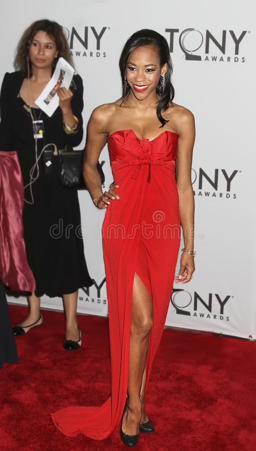 Nikki M. James. Actress Nikki M. James arrives on the red carpet for the 65th Annual Tony Awards at the Beacon Theatre in New York City on June 12, 2011. The stock image