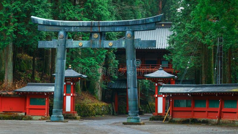 Nikko Futarasan relikskrin i NIkko, Japan arkivfoto