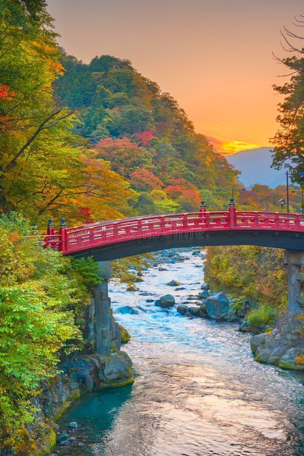 Nikko, Japan at the Shinkyo Bridge royalty free stock photo