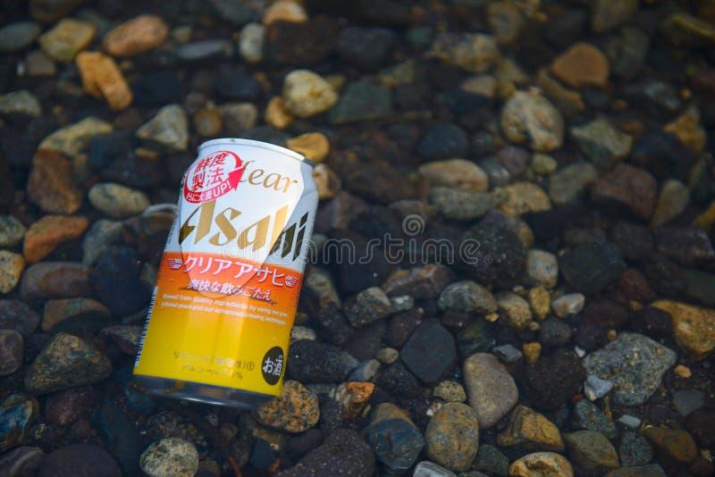 Nikko, Japon - 31 mars 2015 : Boîte d'A de bière d'Asahi de Japonais images libres de droits
