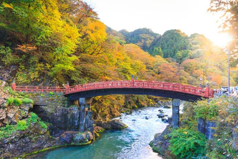 Nikko red Shinkyo bridge in autumn season. royalty free stock images
