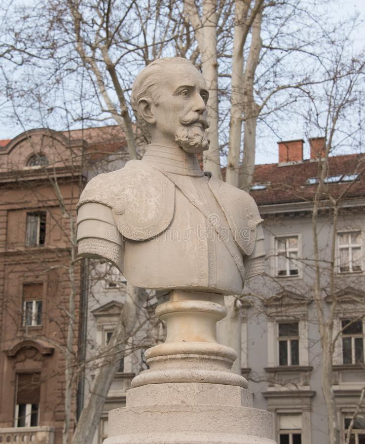 Nikola Jurišić monument in Zagreb stock photography