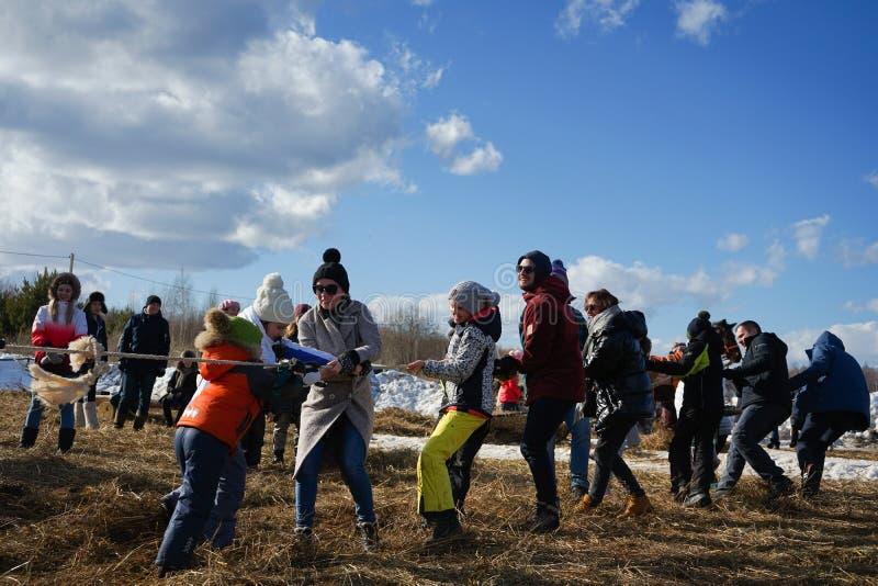 Maslenitsa - russian folk festival during pancake week in the Nikola-Lenivets art park stock photo