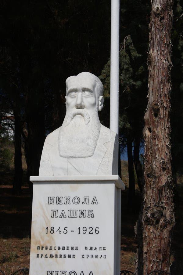 Polykastro WWI military cemetery, Macedonia, Greece. Nikola Pasic Serbian Prime minister statue on Polykastro WWI military cemetery, Macedonia, Greece royalty free stock image