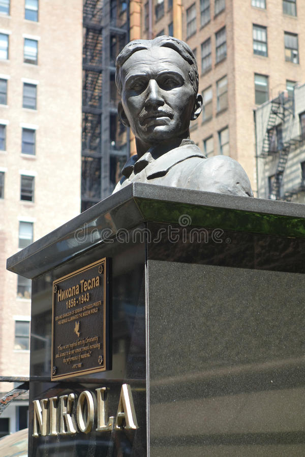 Nikola Tesla Bust. A bust of Serbian inventor Nikola Tesla in New York City, where he lived for 60 years until his death stock photography