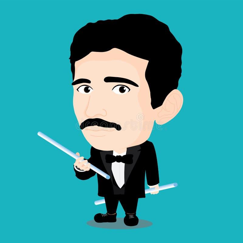 Nikola Tesla Character stock illustration