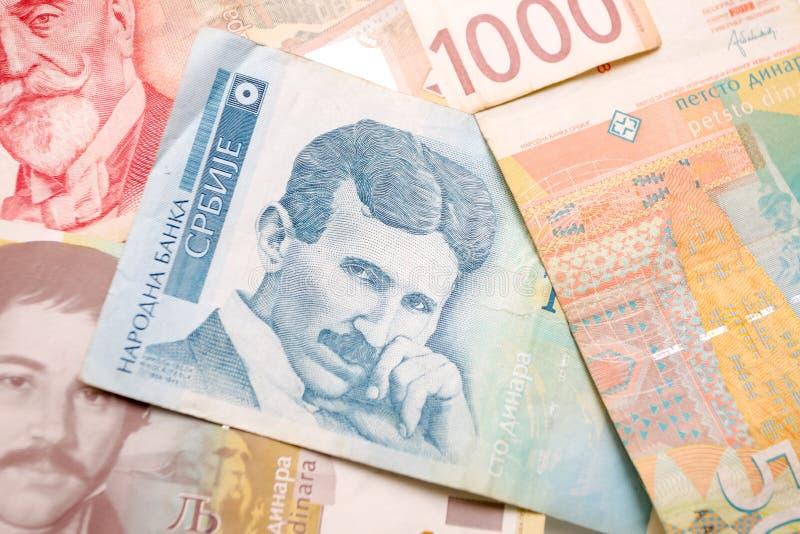 Nikola Tesla conta de 100 dinares fotografia de stock royalty free