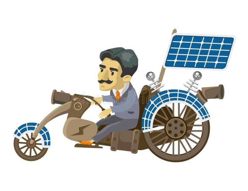 Nikola Tesla goes to mobile royalty free illustration