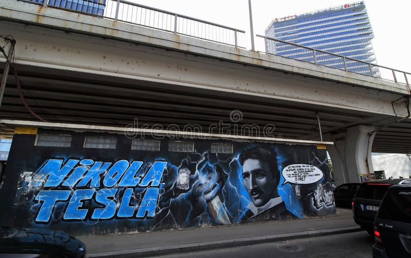 Nikola Tesla-Graffiti stockfotografie