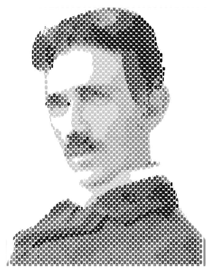 Nikola Tesla, ilustração, o melhor cientista ilustração royalty free
