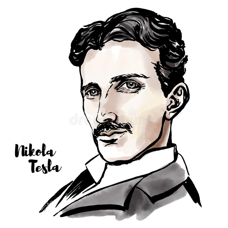 Nikola Tesla Portrait. Nikola Tesla watercolor vector portrait with ink contours. Serbian-American inventor, electrical engineer, mechanical engineer, physicist royalty free illustration