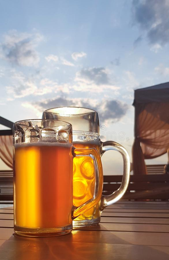 Nikolaev, Ukraine, August 6, 2019: Glass of light beer. Nikolaev, Ukraine, August 6 2019 Glass of light beer royalty free stock photos
