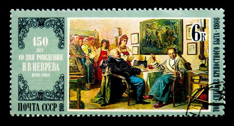 Nikolai Nevrev: El negocio, serie de los aniversarios del nacimiento de los pintores, foto de archivo libre de regalías