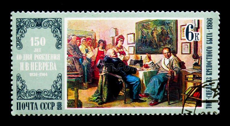 Nikolai Nevrev: El negocio, serie de los aniversarios del nacimiento de los pintores, fotografía de archivo libre de regalías