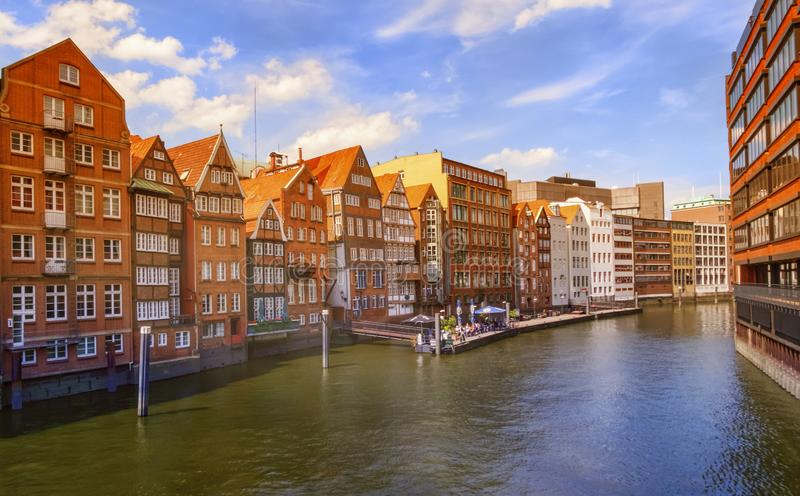 Nikolaifleet canal in the Altstadt of Hamburg, Germany. Nikolaifleet canal in the Altstadt of Hamburg by day, Germany royalty free stock photo
