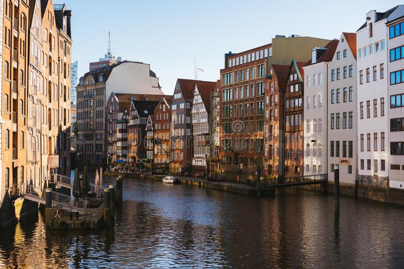 The Nikolaifleet, a canal in the old town Altstadt of Hamburg, Germany. One of the oldest parts of the Hamburg port stock photography