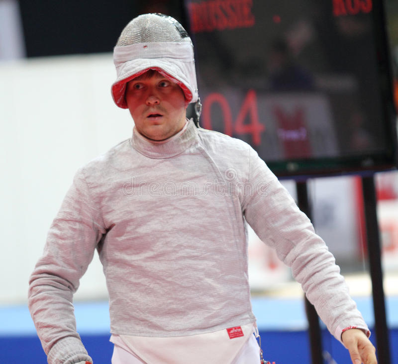 Nikolay Kovalev. Russia's Nikolay Kovalev compete at the 2010 RFF Moscow Saber World Fencing Tournament in Moscow, Russia royalty free stock photography