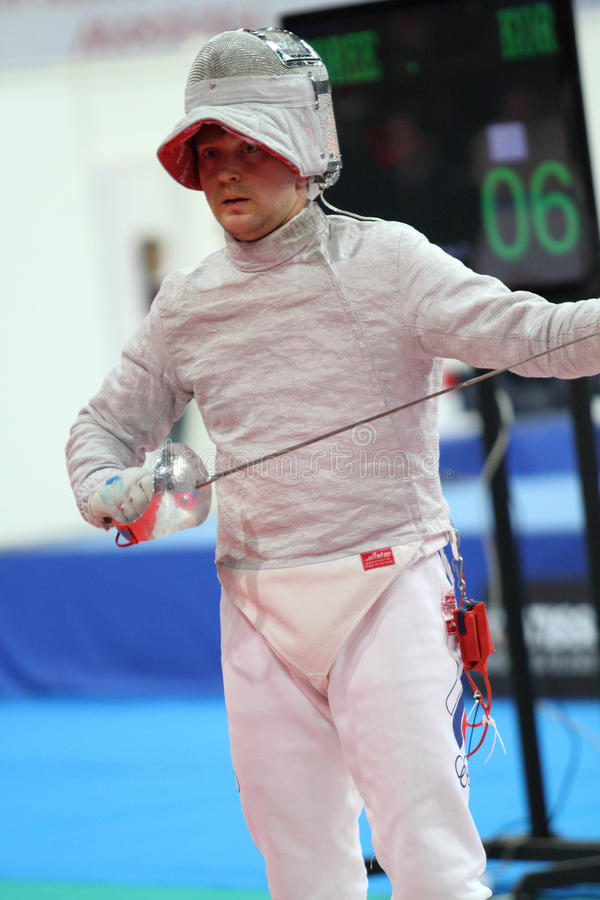 Nikolay Kovalev. Russia's Nikolay Kovalev compete at the 2010 RFF Moscow Saber World Fencing Tournament in Moscow, Russia royalty free stock images
