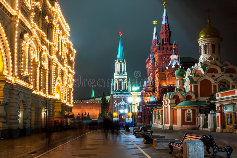 Download Nikolskaya Street In Moscow At Night Time. Russia Stock Photo - Image of darkness, night: 37853742