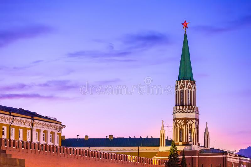 The Nikolskaya Tower, Moscow, Russia. stock images