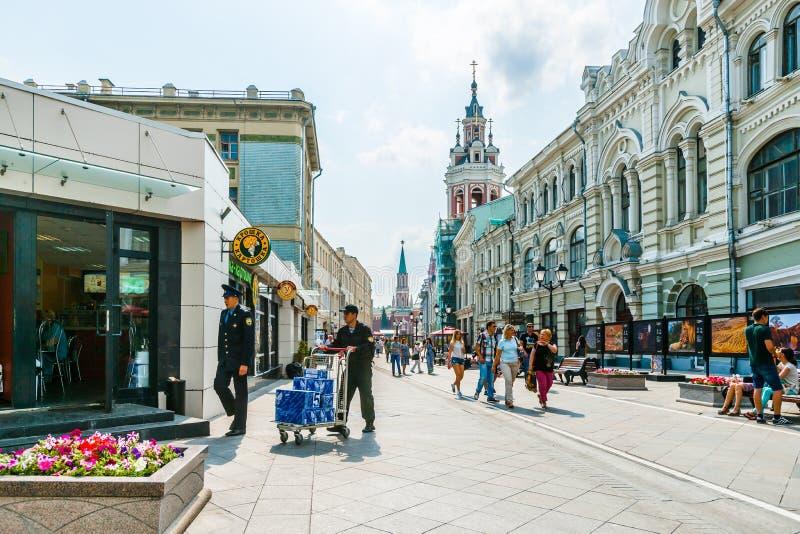 Nikolskaya ulica Moskwa zdjęcia royalty free