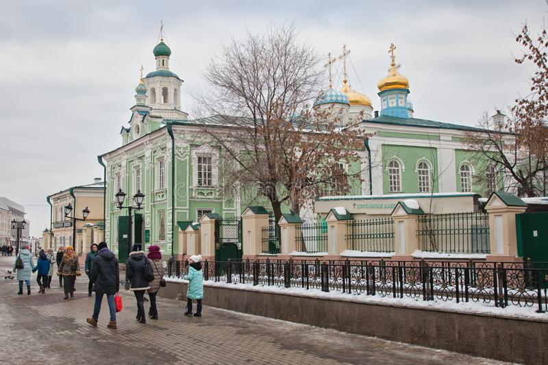 Nikolsky Cathedral in Kazan. Tatarstan. Russian Federation. Baumana street royalty free stock photos