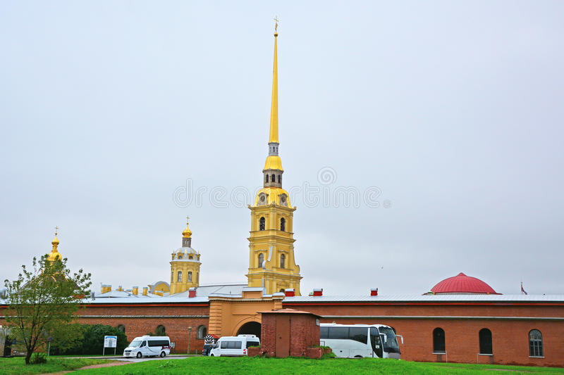 Nikolsky curtain and Cathedral of Saint apostles Pyotr and Pavel in Peter and Paul Fortress in Saint Petersburg, Russia royalty free stock image