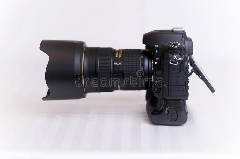 Nikon D750 with MB16. Picture of a Nikon D750 camera with a MB16 battery grip. Shown with a 24-70 mm lens royalty free stock images