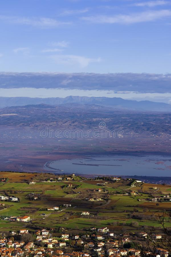 Lake Koronia in Winter. The Prefecture of Thessaloniki is a popular tourist destination in Greece,with over 1 million inhabitants in its metropolitan area.Its stock photography
