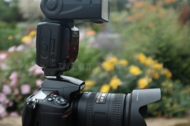 Nikon hastighetsljus på den varma skon arkivbild
