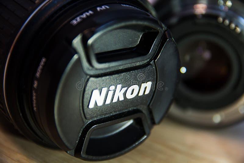 Nikon-Kameraobjektiv lizenzfreie stockbilder