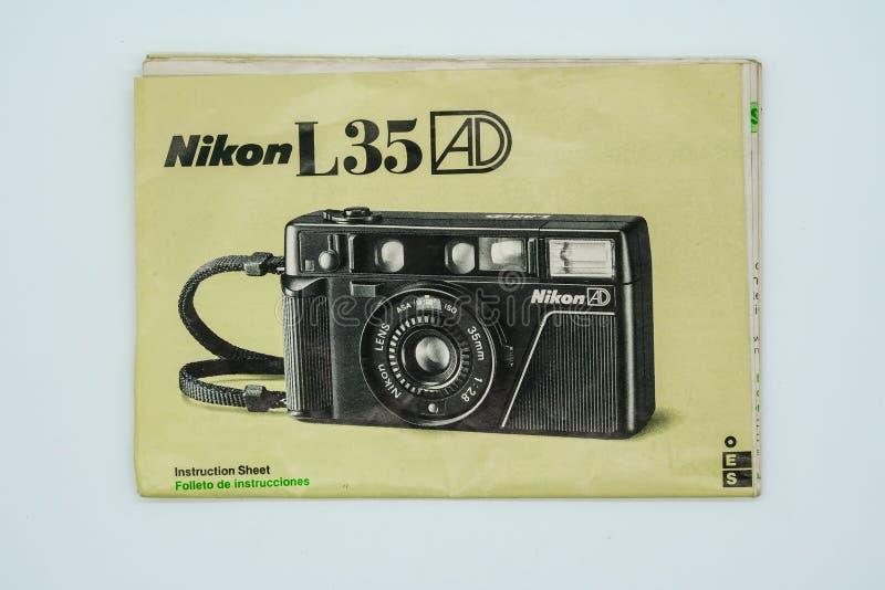 Nikon L35 AD Instruction Sheet. Bangkok, Thailand - Jan 3, 2018. Bangkok Thailand - Jan 3, 2018: Nikon L35 AD Instruction Sheet. Illustrative, editorial royalty free stock photos