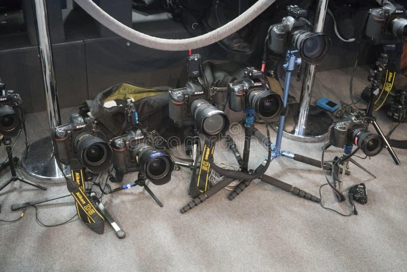 Nikon professionele digitale camera's stock afbeelding