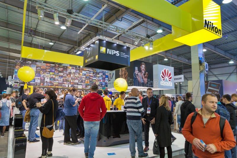 Nikon-Stand während CEE 2017 in Kiew, Ukraine lizenzfreies stockfoto
