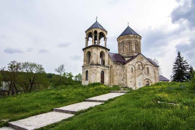Nikortsminda Cathedral. Is a Georgian Orthodox Church, located in Nikortsminda, Racha region of Georgia. Nikortsminda was built in 1010-1014. The Cathedral is royalty free stock images