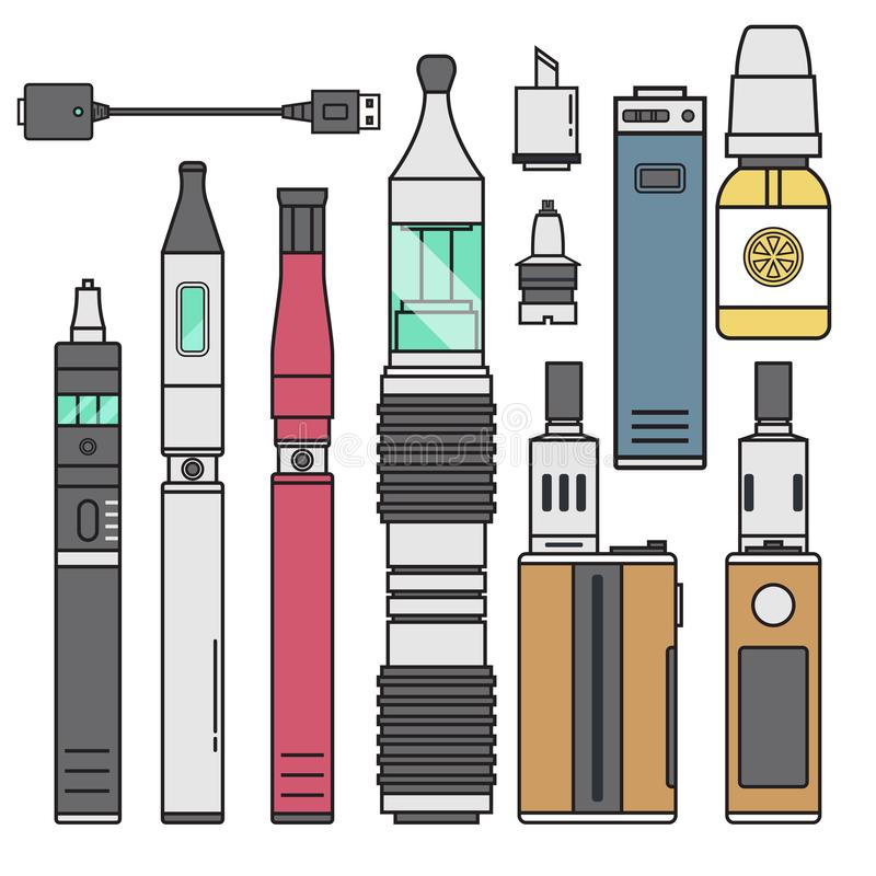 Nikotin för spole för batteri för illustration för anstrykning för flaska för vape för fruktsaft för dunst för sprejflaska för ci vektor illustrationer