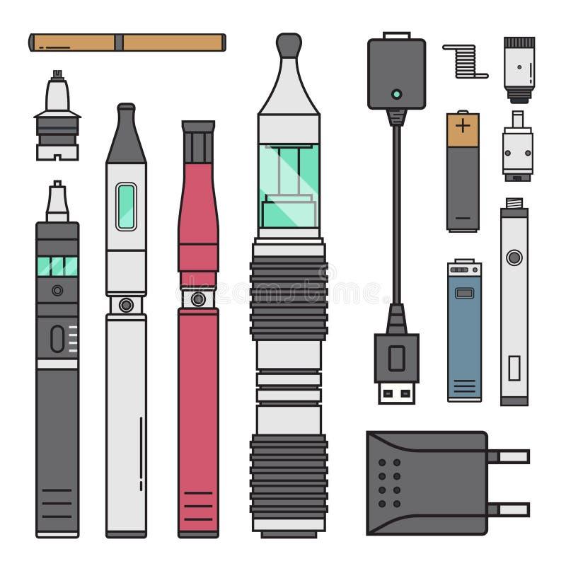 Nikotin för spole för batteri för illustration för anstrykning för flaska för vape för fruktsaft för dunst för sprejflaska för ci stock illustrationer