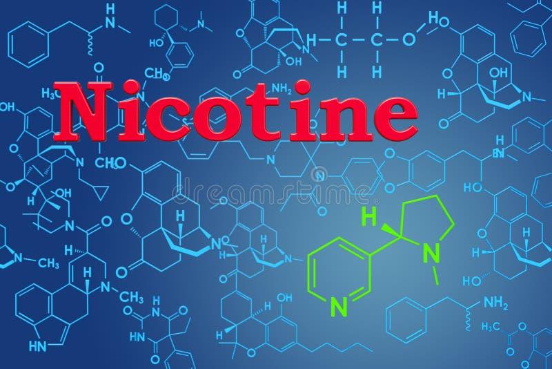 nikotin Kemisk formel, molekylär struktur framförande 3d stock illustrationer