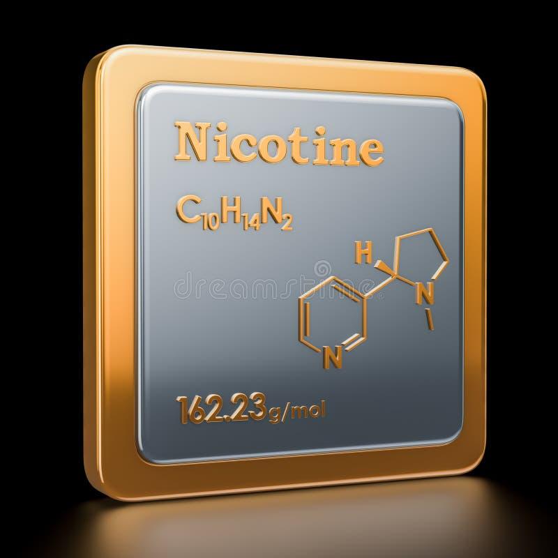nikotin Symbol kemisk formel, molekylär struktur 3d framför royaltyfri illustrationer