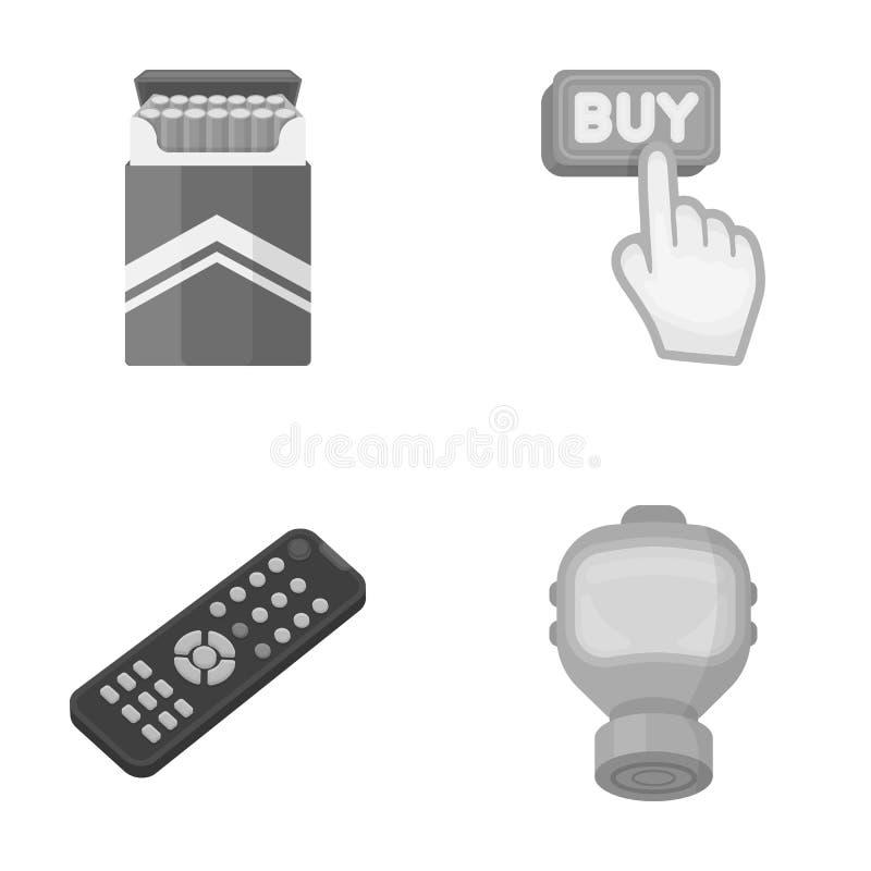 Nikotin, teknologi och annan monokrom symbol i tecknad film utformar köp vapensymboler i uppsättningsamling stock illustrationer