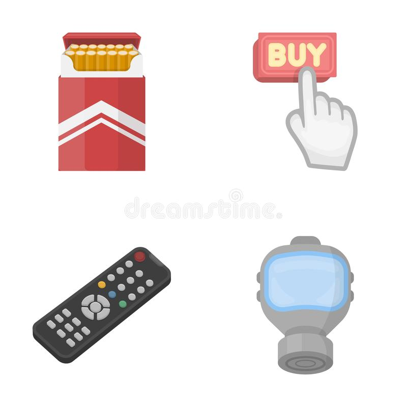 Nikotin, teknologi och annan rengöringsduksymbol i tecknad film utformar köp vapensymboler i uppsättningsamling royaltyfri illustrationer