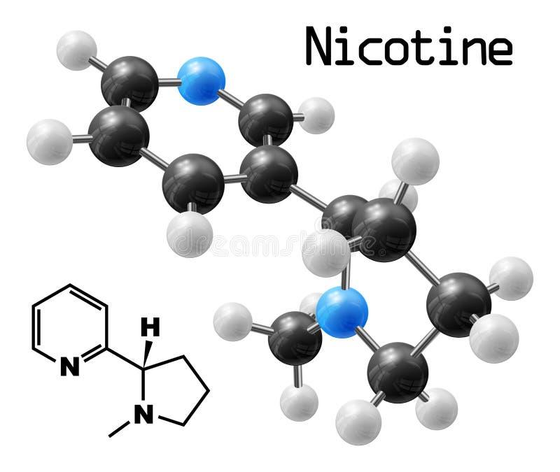 Nikotinmolekyl stock illustrationer