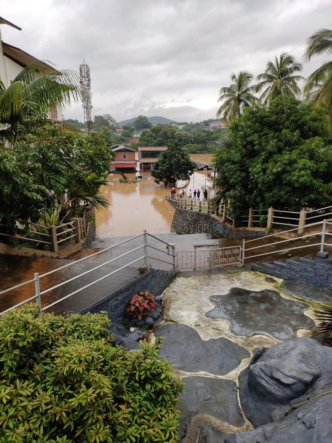 2019 flood in Nilambur, Kerala. NILAMBUR, KERALA, INDIA - AUGUST 09, 2019: View of flood affected street in Janathapadi from the grotto of Little Flower Forane royalty free stock photos
