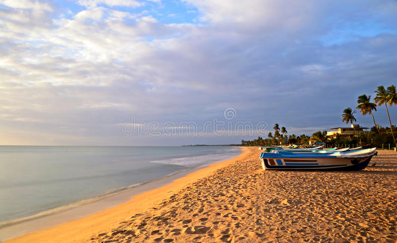 Nilaveli beach and Pigeon Island. Long exposure taken on a tropical beach during monsoon time. Location: Nilaveli beach, Sri Lanka royalty free stock photography