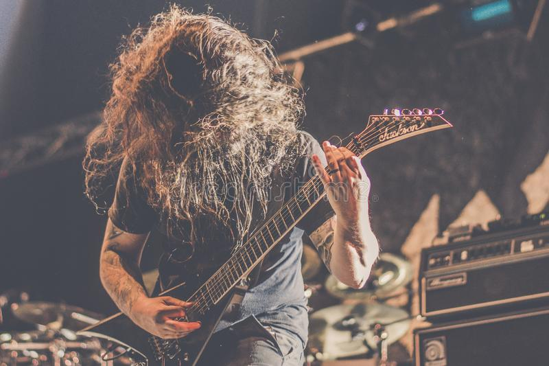 Nile, Brian Kingsland live concert 2018. Nile is an American death metal band from Greenville, South Carolina, United States, formed in 1993. Their music and stock photo